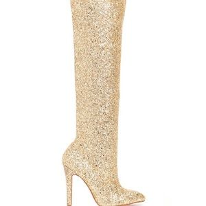Over the knee gold sparkle boots